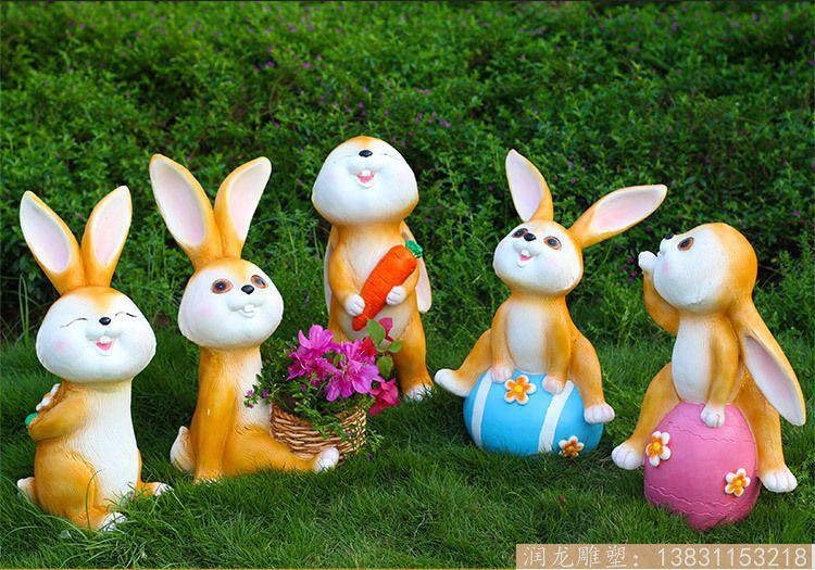 【仿真动物玻璃钢雕塑卡通雕塑兔子户外工艺品