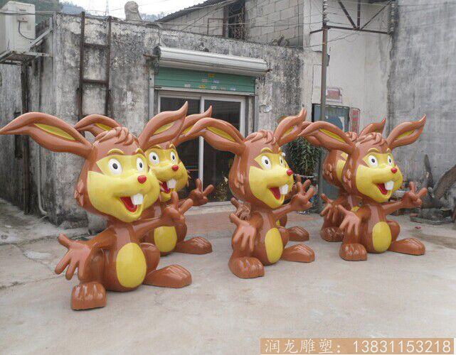 【商场定做卡通兔子雕塑 深圳玻璃钢雕塑厂家